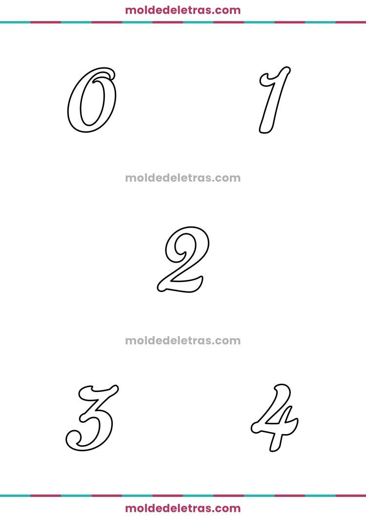 Molde de Números Cursivas Fonte Gelato Script em Tamanho Médio