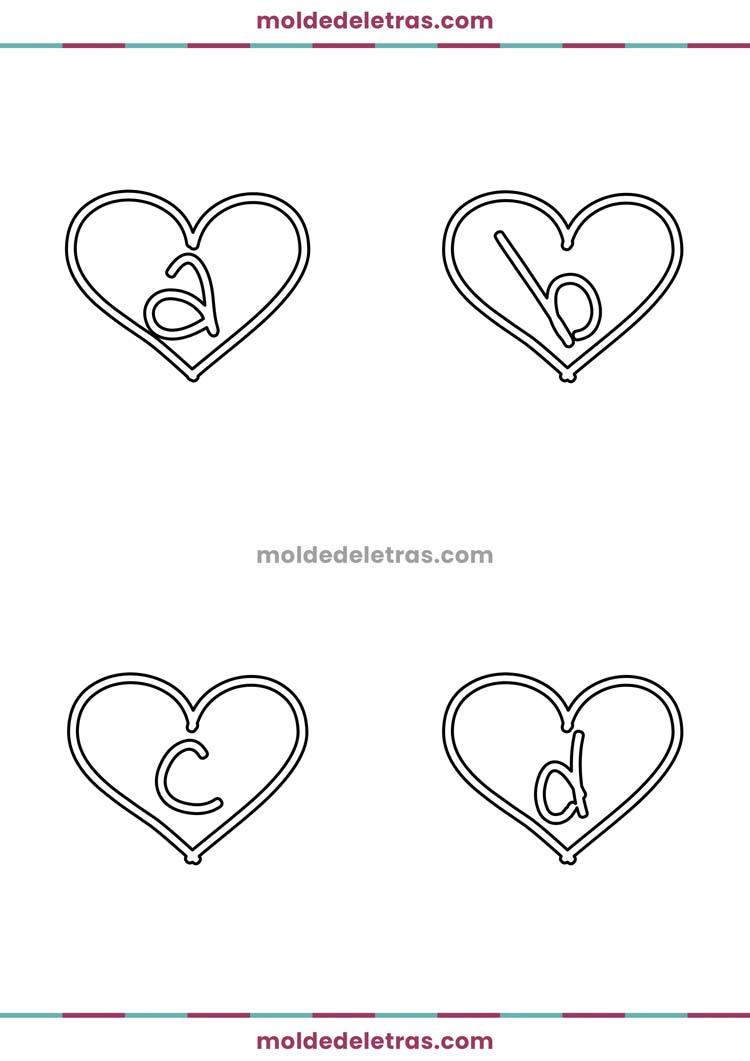 Molde de Letras no Coração I Lovers You - Minúsculas em Tamanho Grande