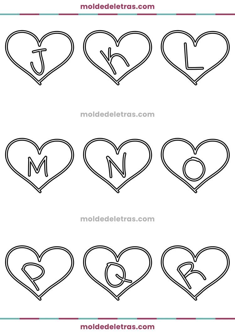 Molde de Letras no Coração I Lovers You - Maiúsculas em Tamanho Médio