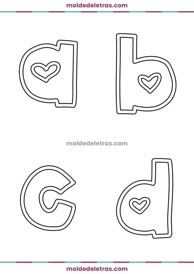 Molde de Letras com Corações Two Lovers - Minúsculas em Tamanho Grande