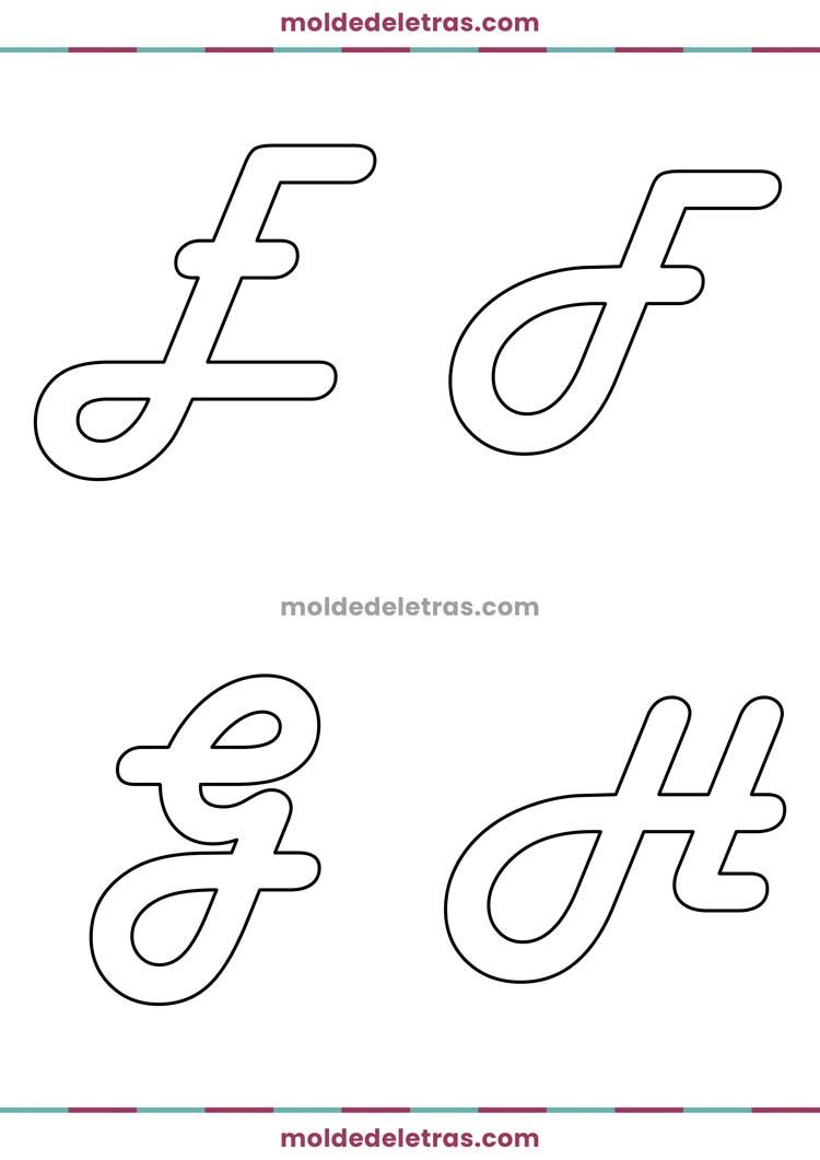 Molde de Letras Cursivas Harlow Solid Italic - Maiúsculas em Tamanho Grande
