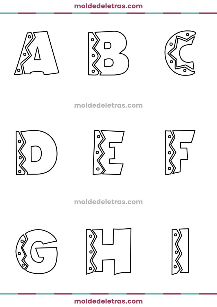 Molde de Letras Estilo Mexicano - Maiúsculas em Tamanho Médio