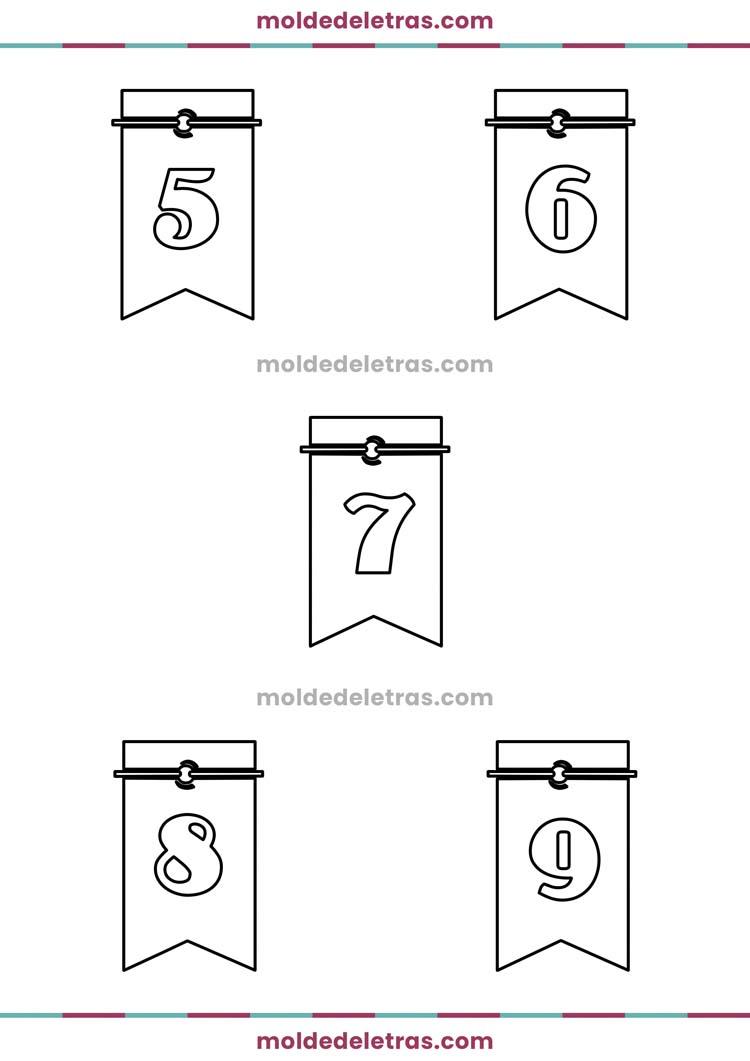 Molde de Números com Bandeirinhas - Tamanho Médio