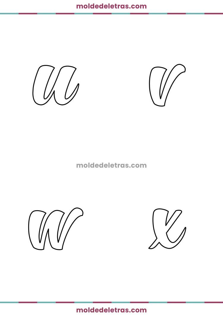 Molde de Letras Cursivas Hunters - Minúsculas em Tamanho Grande